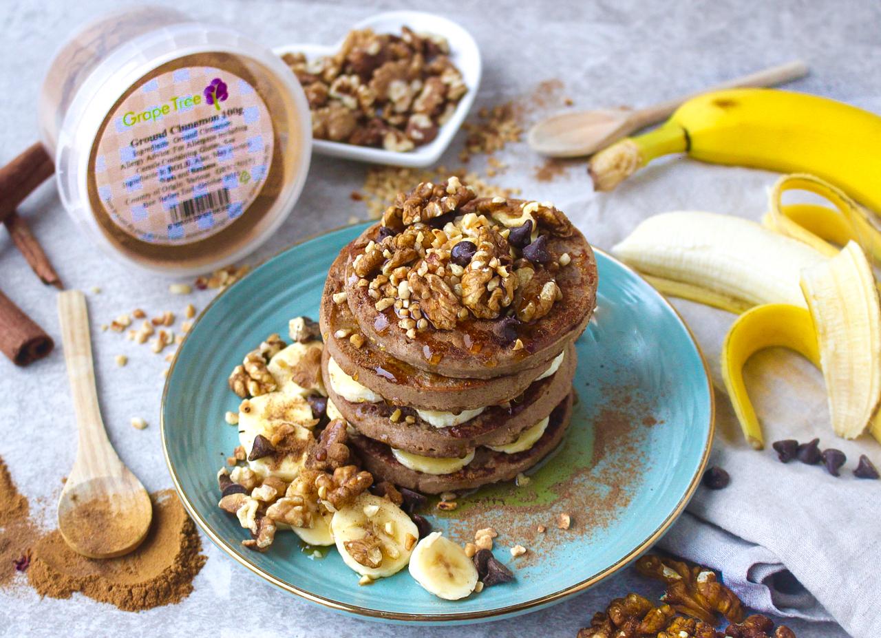 Walnut, Banana & Cinnamon Spice Pancakes