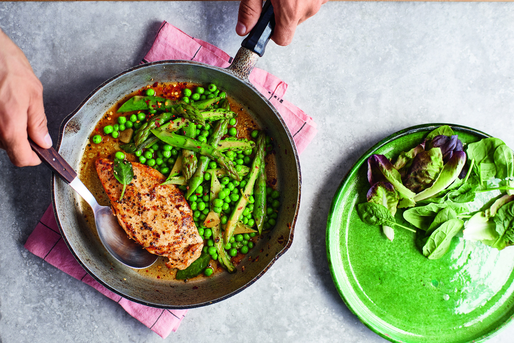 Sage Butter Chicken With Lemony Spring Greens