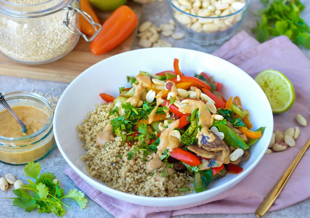 Quinoa & Peanut Satay Stir Fry Recipe