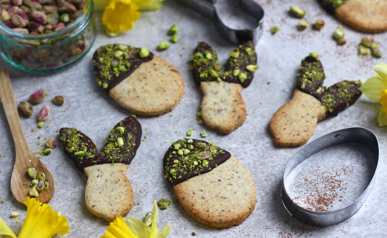 Chocolate & Pistachio Dipped Easter Biscuits
