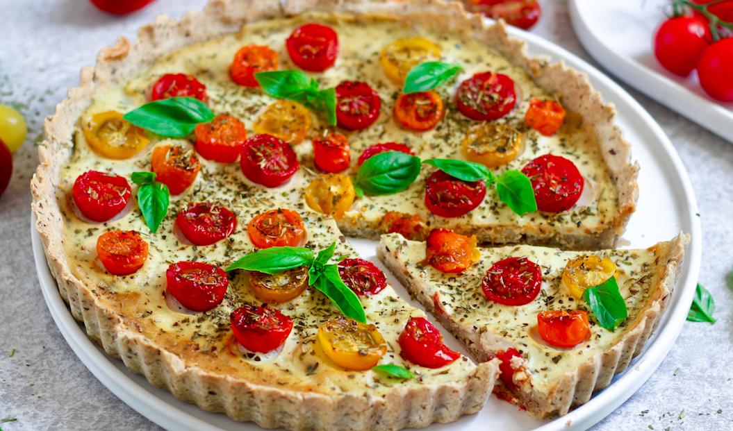 Vegan Tomato & Basil Quiche