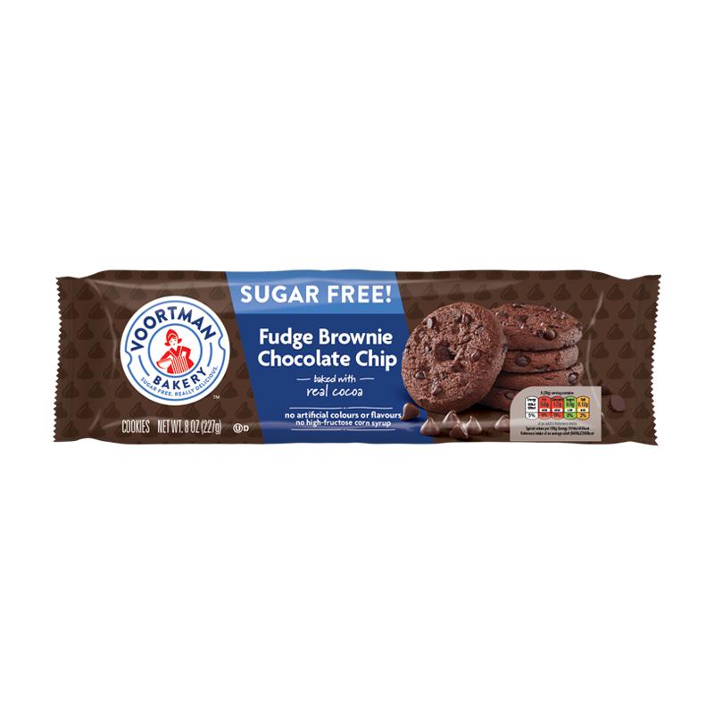 Voortman Sugar Free Fudge Brownie Choc Chip Cookies 227g